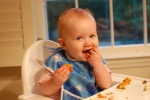 Baby Maggie eating
